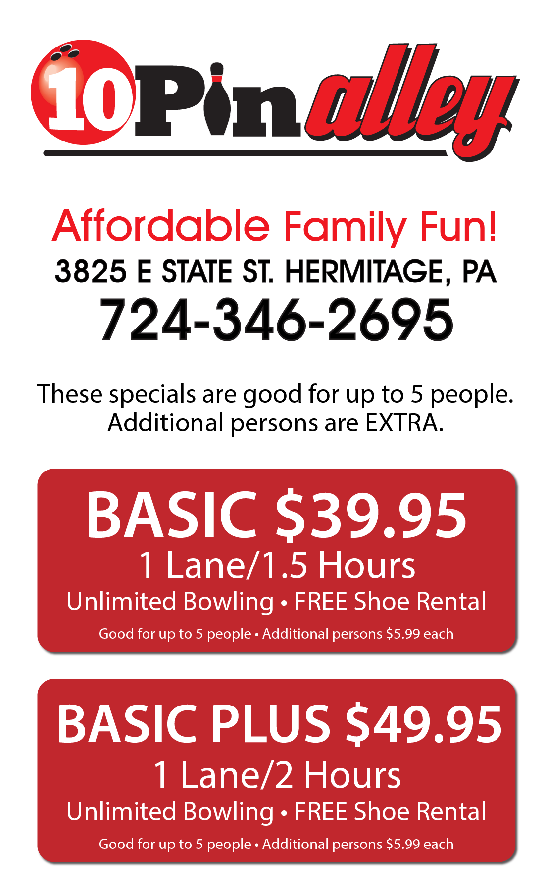 Family bowling specials in Sharon & Hermitage PA